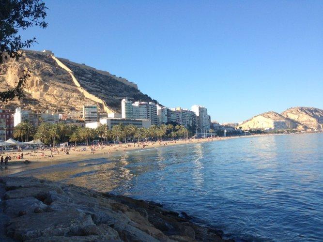 Alicante,Spain-El Postiguet Beach & Castle